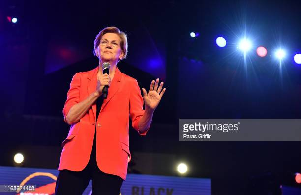 Senator Elizabeth Warren, a Democrat from Massachusetts and 2020 presidential candidate, speaks onstage during the 2019 Young Leaders Conference -...