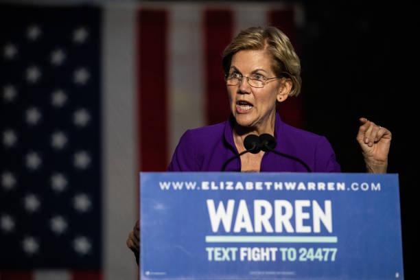 NY: Senator Elizabeth Warren Delivers Speech In Washington Square Park