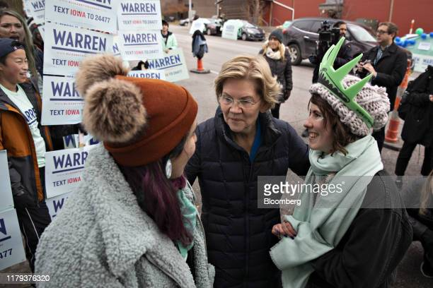 Senator Elizabeth Warren a Democrat from Massachusetts and 2020 presidential candidate center greets supporters outside Wells Fargo Arena ahead of...