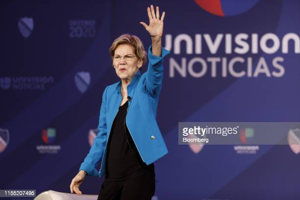 Senator Elizabeth Warren a Democrat from Massachusetts and 2020 presidential candidate waves to the crowd during the League of United Latin American...