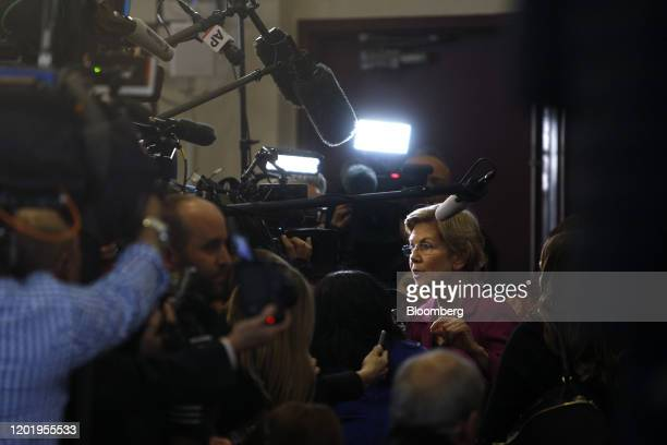 Senator Elizabeth Warren a Democrat from Massachusetts and 2020 presidential candidate speaks to members of the media following the Democratic...