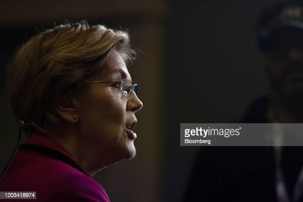 Senator Elizabeth Warren a Democrat from Massachusetts and 2020 presidential candidate speaks to a member of the media following the Democratic...