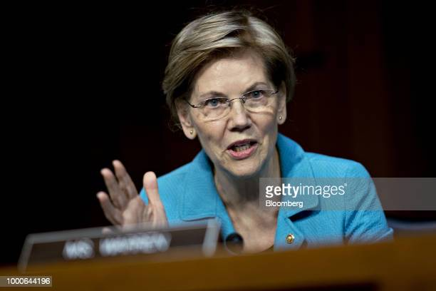 Senator Elizabeth Warren a Democrat from Massachusetts questions Jerome Powell chairman of the US Federal Reserve not pictured during a Senate...