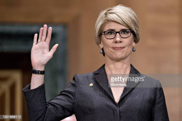 Senator Elizabeth Warren a Democrat from Massachusetts questions Kathy Kraninger director of the Consumer Financial Protection Bureau nominee for US...
