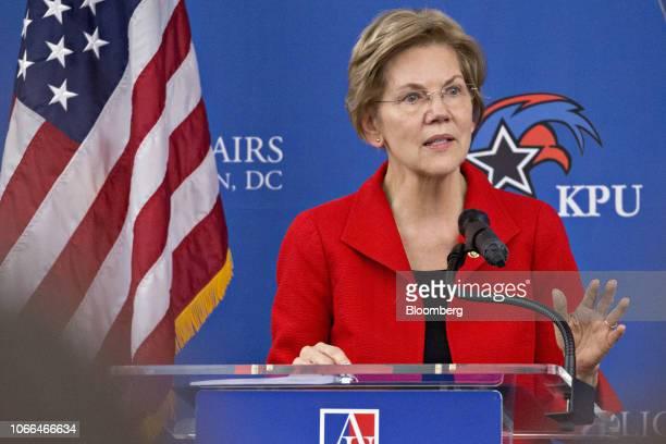 Senator Elizabeth Warren a Democrat from Massachusetts speaks at American University in Washington DC US on Thursday Nov 29 2018 Warren said she...