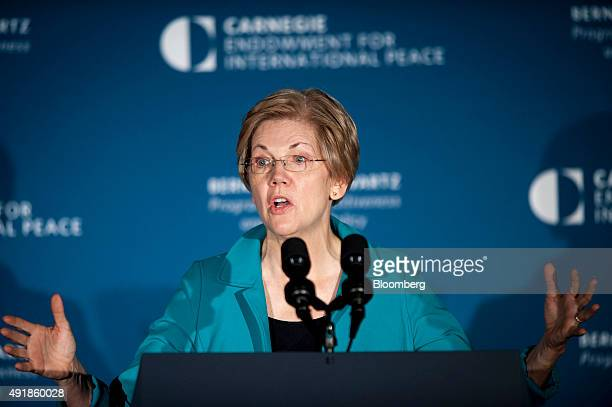 Senator Elizabeth Warren a Democrat from Massachusetts speaks at the American Job Creation and Infrastructure Forum in Washington DC US on Thursday...