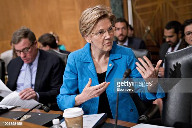 Senator Elizabeth Warren a Democrat from Massachusetts speaks before the start of a Senate Banking Committee confirmation hearing for Kathy Kraninger...
