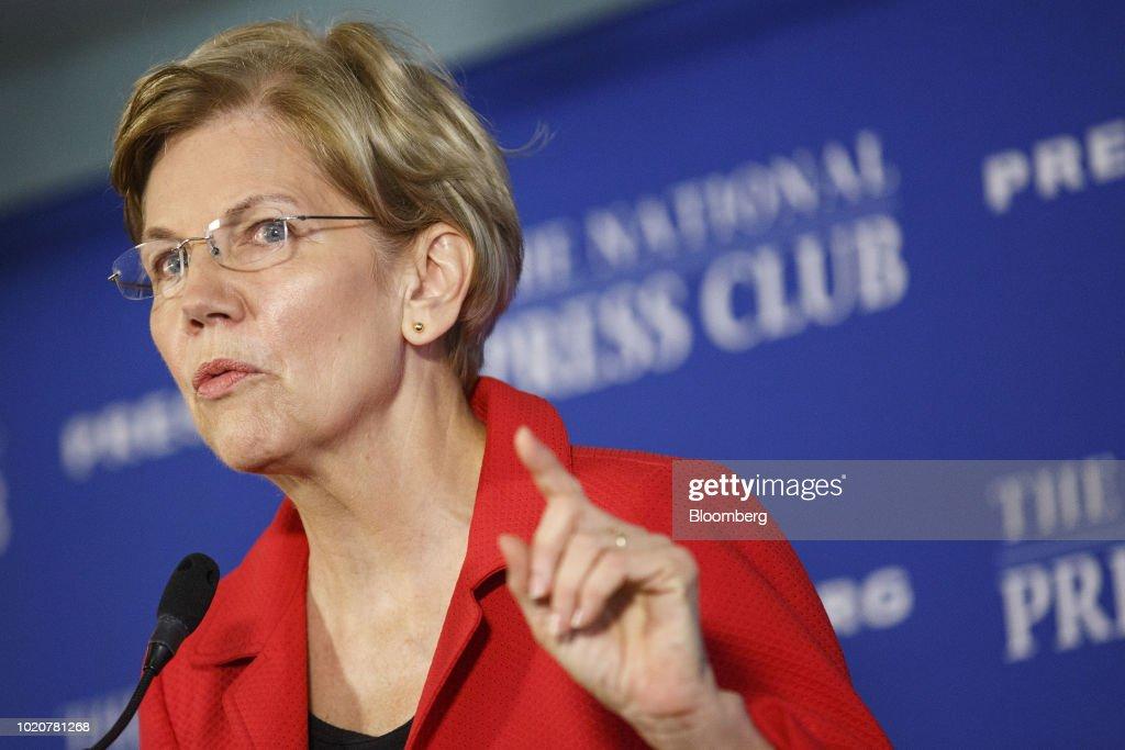 Senator Elizabeth Warren Speaks At The National Press Club : News Photo