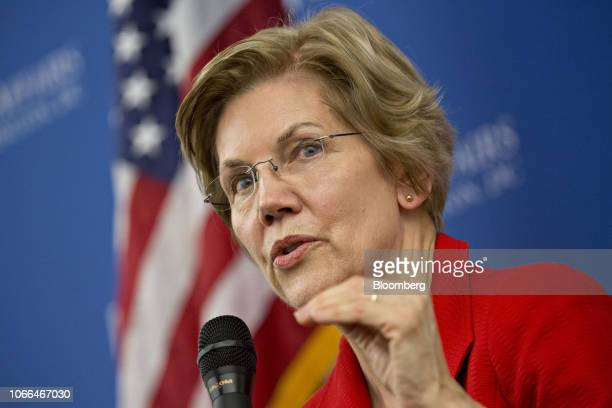 Senator Elizabeth Warren a Democrat from Massachusetts speaks during a discussion at American University in Washington DC US on Thursday Nov 29 2018...