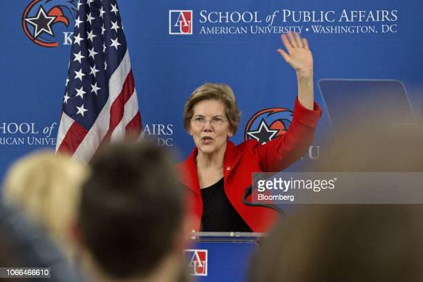 Senator Elizabeth Warren a Democrat from Massachusetts waves after speaking at American University in Washington DC US on Thursday Nov 29 2018 Warren...