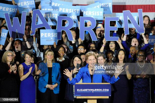 Senator Elizabeth Warren addresses the audience during the Election Day Massachusetts Democratic Coordinated Campaign Election Night Celebration at...
