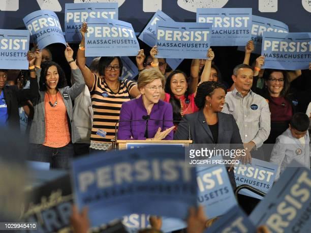 Senator Elizabeth Warren DMA introduces Congressional Democratic candidate Ayanna Pressley during a Democratic Party Unity Rally at the Cambridge...