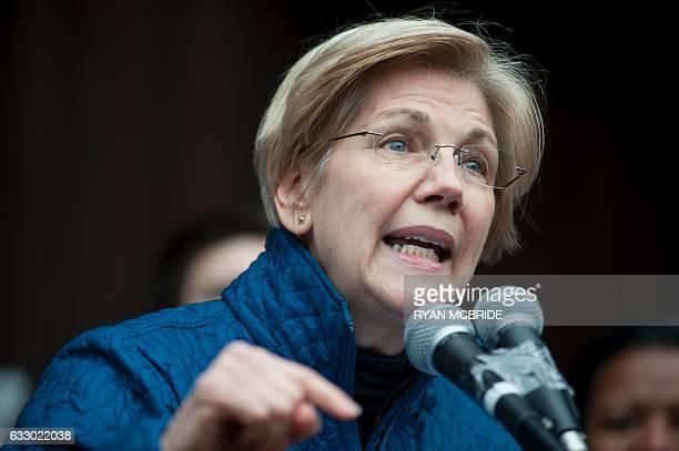 US Senator Elizabeth Warren DMA speaks to people gathered at Copley Square January 29 2017 in Boston Massachusetts to decry US President Donald...