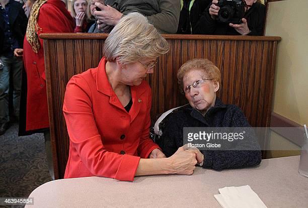 S Senator Elizabeth Warren is pictured at the Blue Bluebonnet Diner where 91yearold Lucille Pontbriand was thrilled to greet her senator