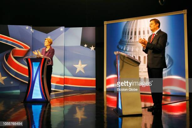 S Senator Elizabeth Warren left and Republican challenger Geoff Diehl take part in a debate hosted at the WCVB studios in Needham MA on Oct 30 2018