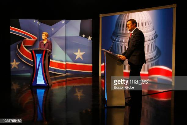 S Senator Elizabeth Warren left and Republican challenger Geoff Diehl take part in a a debate hosted at the WCVB studios in Needham MA on Oct 30 2018