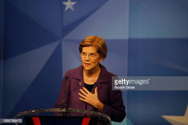 S Senator Elizabeth Warren responds to a question during a debate against Republican challenger Geoff Diehl hosted at the WCVB studios in Needham MA...