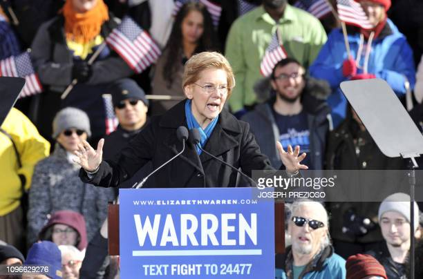 US Senator Elizabeth Warren speaks during her presidential candidacy announcement event at the Everett Mills in Lawrence MA on February 9 2019 The...