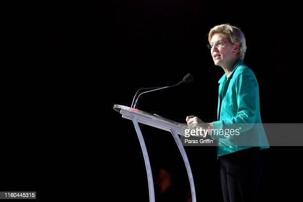 Senator Elizabeth Warren speaks on stage at 2019 ESSENCE Festival Presented By Coca-Cola at Ernest N. Morial Convention Center on July 06, 2019 in...