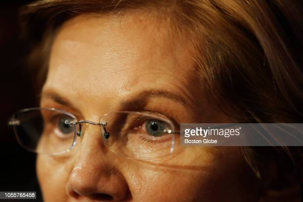 S Senator Elizabeth Warren speaks to the press after a debate against Republican challenger Geoff Diehl hosted at the WCVB studios in Needham MA on...