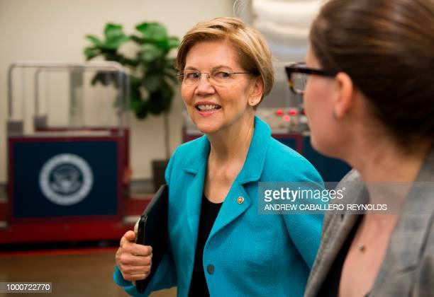 Senator Elizabeth Warren walks to the chamber to go for a vote on July 17 2018 on Capitol Hill in Washington DC