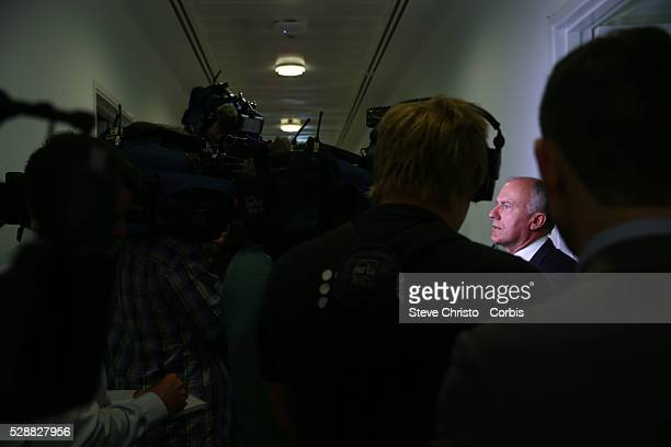 Senator Eric Abetz has a press conference after Tasmanian Senator Jaqui Lambie spoke at her press conference in Parliament House Canberra announcing...