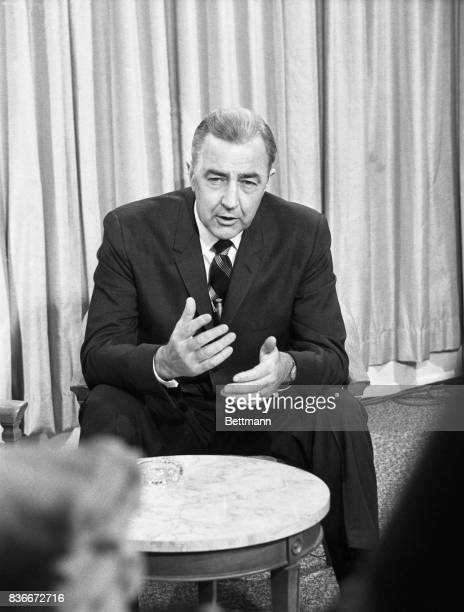 """Senator Eugene McCarthy shown as he was interviewed at his Milwaukee headquarters 4/2 said """"It's now a two man race"""" for the Democratic presidential..."""