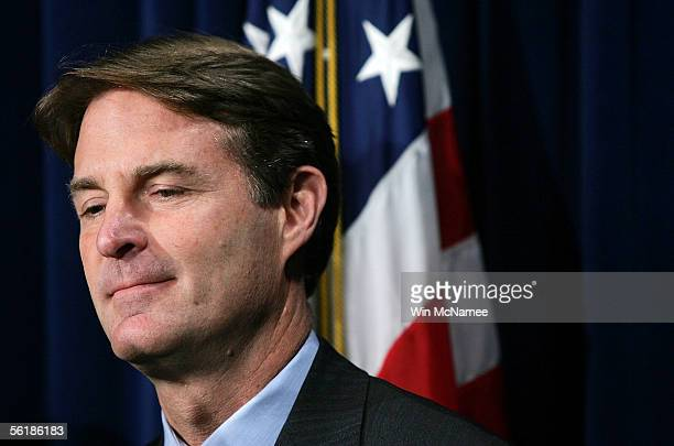 S Senator Evan Bayh takes part in a media conference on the Energy Security Act at the US Capitol November 16 2005 in Washington DC The legislation...