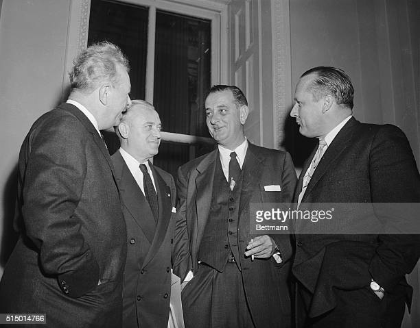 Senator Everett Dirksen of Illinois is shown chatting with Senate colleagues in a Senate corridor yesterday after hospitalization of Senator Joseph...