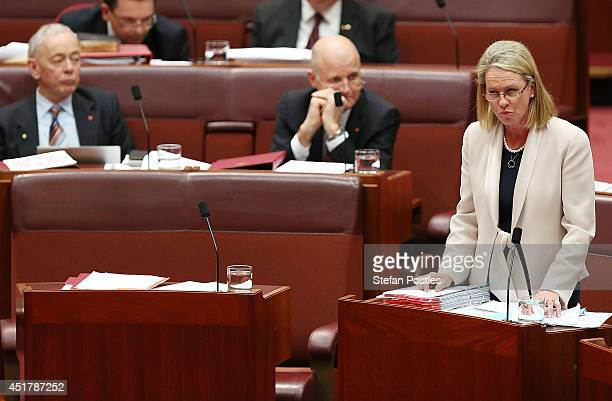 Senator Fiona Nash during Senate question time on July 7 2014 in Canberra Australia Twelve Senators will be sworn in today with the repeal of the...