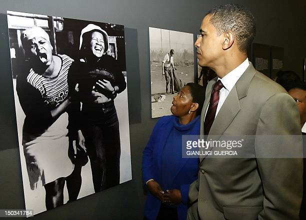 US senator for Illinois Barack Obama visits Hector Pieterson Museum in Soweto Johannesburg guided by Pieterson's sister Antoinette Sitole 23 August...