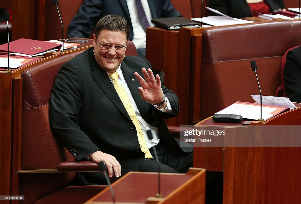Senator for Queensland Glenn Lazarus during an official swearing in ceremony on July 7, 2014 in Canberra, Australia. Twelve Senators will be sworn in today, with the repeal of the carbon tax expected to be first on the agenda.
