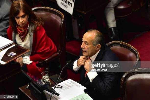 Senator for San Luis Adolfo Rodriguez Saa speaks while deputies vote for the new abortion law on August 8 2018 in Buenos Aires Argentina The bill...