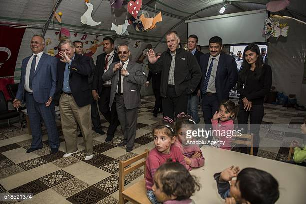 S Senator for South Carolina Lindsey Graham visits a preschool at a tent city of Syrian refugees in Nizip district of Turkey's Gaziantep province on...