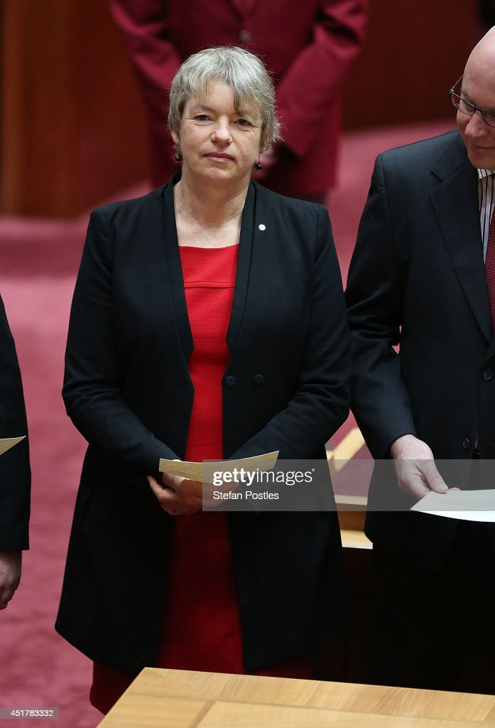 Senator for Victoria Janet Rice is sworn in during an official ceremony at Parliament on July 7, 2014 in Canberra, Australia. Twelve Senators will be sworn in today, with the repeal of the carbon tax expected to be first on the agenda.