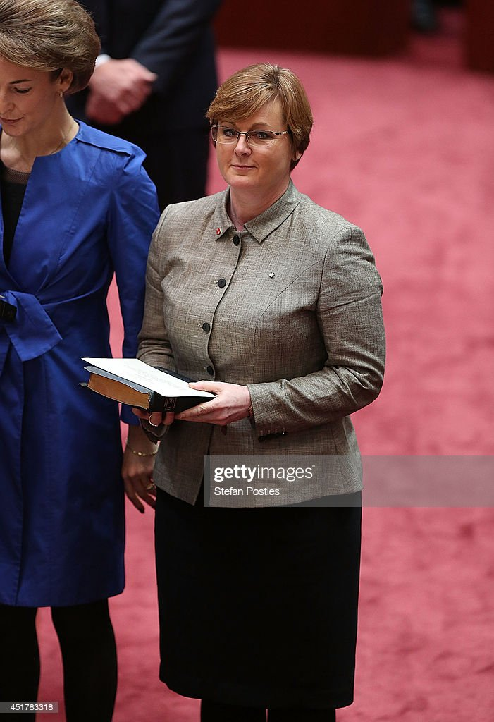 Senator for Western Australia Linda Reynolds is sworn in during an official ceremony at Parliament on July 7, 2014 in Canberra, Australia. Twelve Senators will be sworn in today, with the repeal of the carbon tax expected to be first on the agenda.