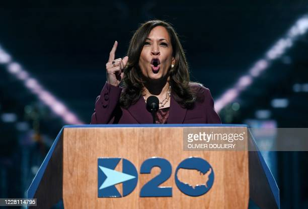 Senator from California and Democratic vice presidential nominee Kamala Harris speaks during the third day of the Democratic National Convention,...