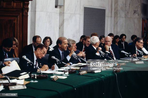 Senator from Delaware and Senate Judiciary Committee chairman, Joe Biden , makes an opening statement before a hearing on Judge Clarence Thomas'...