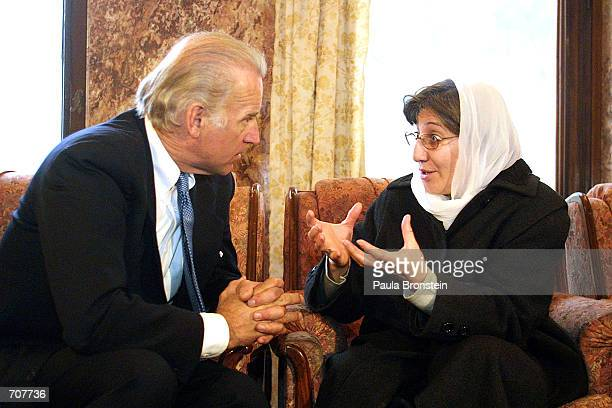 Senator from Delaware Joseph Biden Chairman of the Senate Foreign Relations Commitee meets with Sima Samar minister for Womens Affairs January 12...