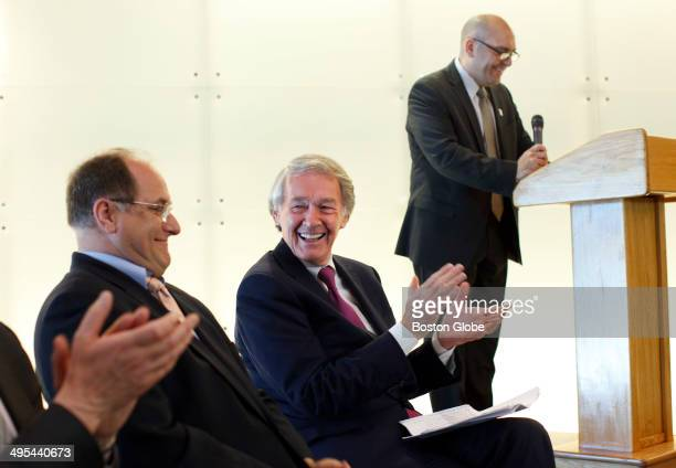 S Senator from Massachusetts Ed Markey center speaks at the opening of the new global headquarters for Sarepta Therapeutics a drug developer working...