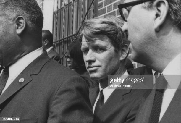 Senator from New York Robert F Kennedy at the funeral of assassinated American civil rights leader Martin Luther King Jr Atlanta Georgia 9th April...