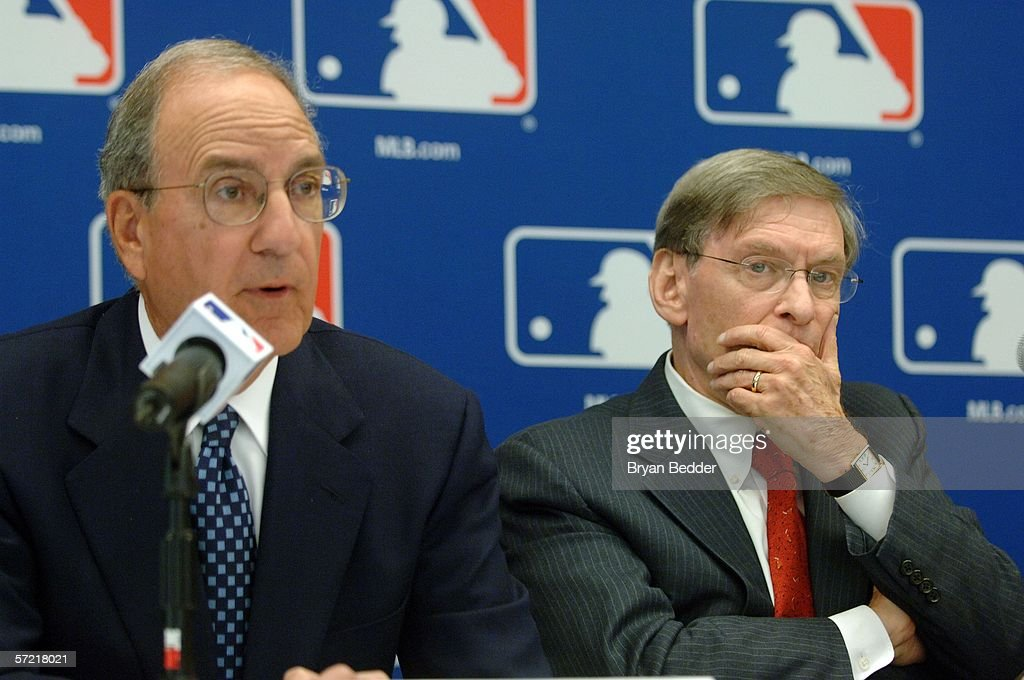 Senator George J. Mitchell and Commissioner Allan H. 'Bud' Selig speak during a press conference on steroid use in Major League Baseball March 30, 2006 in New York City.