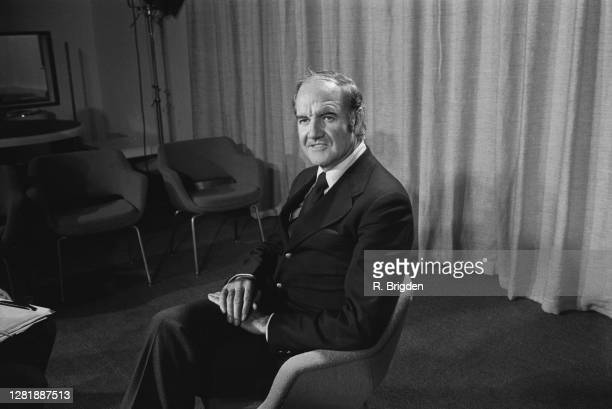 Senator George McGovern holds a press conference at London Airport, UK, January 1973.