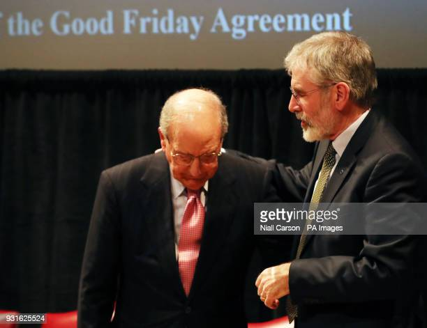 Senator George Mitchell and Gerry Adams at a Good Friday Agreement 20th anniversary event at the Library of Congress in Washington DC on day three of...