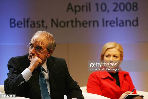 Senator George Mitchell and Liz O'Donnell Progressive Democrats TD in Belfast where politicians who negotiated The Good Friday Agreement ten years...