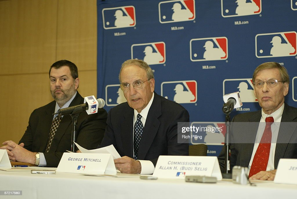 Senator George Mitchell during the press conference to announce the naming of the panel to invesitage steroid use in MLB at the Major League Baseball offices in New York, New York on March 30, 2006.