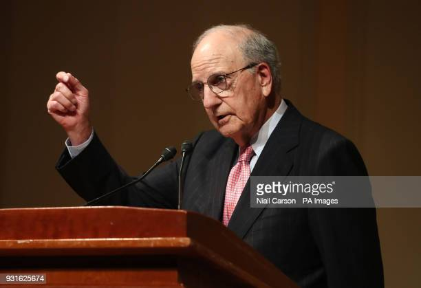 Senator George Mitchell speaking at a Good Friday Agreement 20th anniversary event at the Library of Congress in Washington DC on day three of...