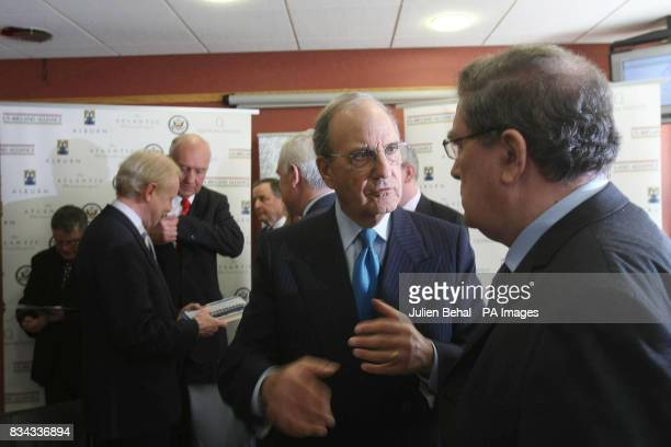 Senator George Mitchell talks with John Hume in BBC studios Belfast where politicians who negotiated The Good Friday Agreement ten years ago gathered...