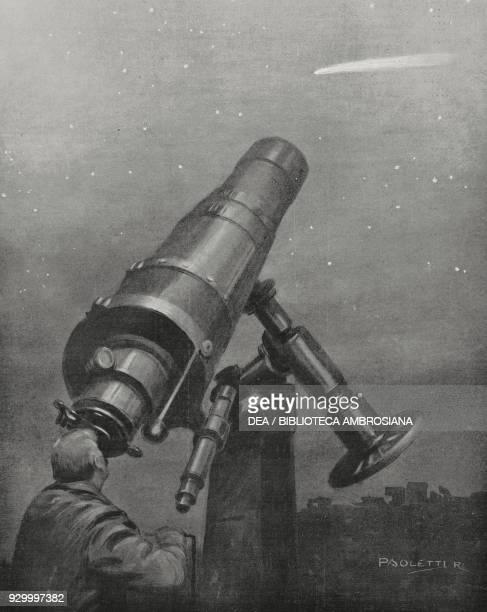 Senator Giovanni Celoria observing Halley's comet from the observatory of Brera in Milan Italy, drawing by Rodolfo Paoletti, L'Illustrazione...