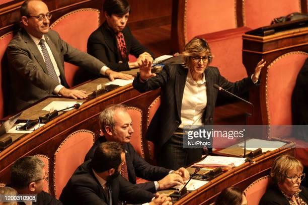 Senator Giulia Bongiorno during her lecture in the Senate Chamber in Rome Italy on February 12 2020